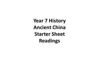 Year 7 History Ancient China Starter Sheet Readings,