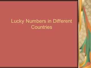 Lucky Numbers in Different Countries,Online HTML PPT displaying platform