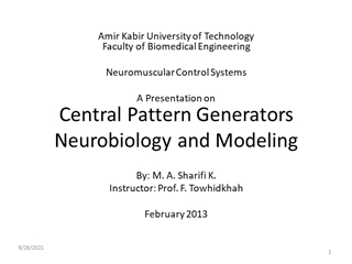 Central Pattern Generators Biophysiology and Modeling,