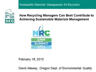 2012 AOR - How Recycling Managers Can Best Contribute to Achieving Sustainable Materials Management Digital slide making software