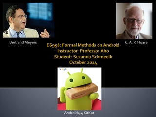Formal methods on Android  Professor aho,