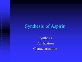 Synthesis of Aspirin - Columbia University,