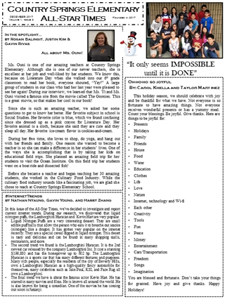 Newsletter December - Country Springs ElementaryAll-Star Times, In the spotlight… by Rogan Balingit,