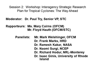 Session 2 Workshop Interagency Strategic Research Plan,