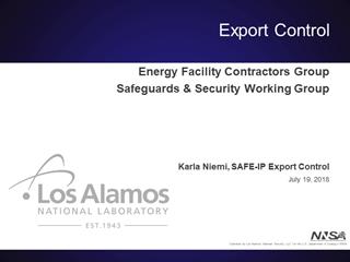 2018 July 19 Export Control Program - Karla Niemi,