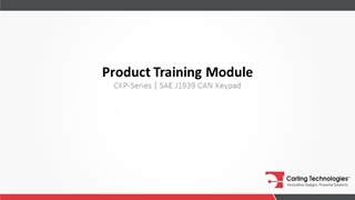 Product Training, CKP-Series   SAE  CAN Keypad, SAE CAN 2,