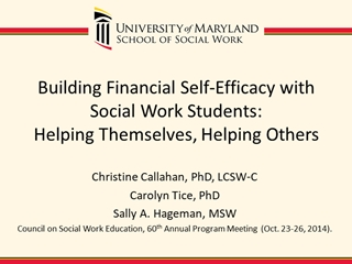 Building Financial Self-Efficacy with Social Work Students: Helping Themselves,